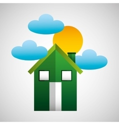 Environment house cloud and sun icons vector