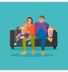 Family eating popcorn and watching movie in home vector image