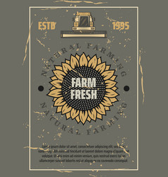 farm retro poster sunflower and harvester vector image
