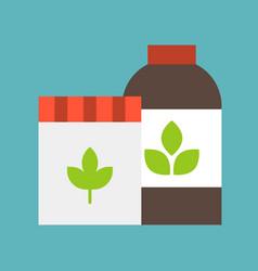Farm supply bottle of fertilizer icon flat design vector