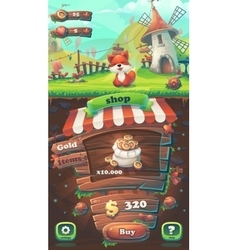 feed fox gui match 3 shop window vector image