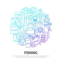 Fishing circle concept vector