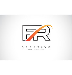Fr f r swoosh letter logo design with modern vector