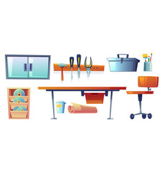 garage instruments tools for carpentry works vector image