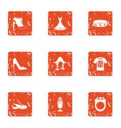 German program icons set grunge style vector