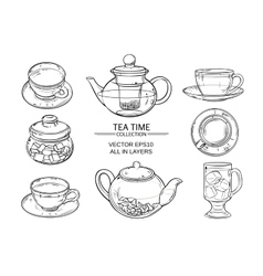 glass tea set sketch vector image