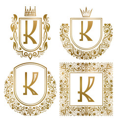 golden vintage monograms set heraldic logos k vector image