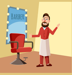 hairdresser stylist an armchair a mirror vector image