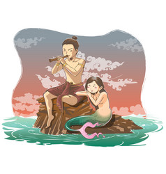 Hand draw thais fairy tale in romantic scene the vector
