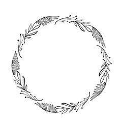 hand drawn frame floral wreath with leaves vector image