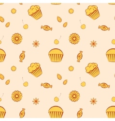 Hand drawn seamless patterns with cupcakes vector