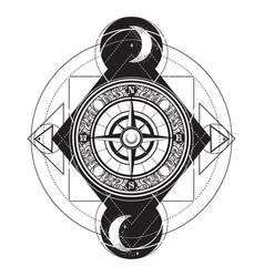 hand drawn vintage compass tattoo artwork vector image