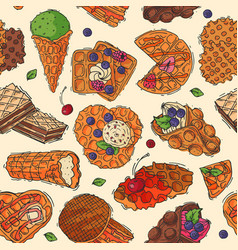 Hand drawn waffle cakes cookies pastry biscuit vector