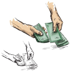Hands counting cash money vector image