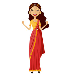 Happy admiration indian woman throwing up vector