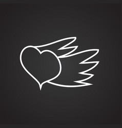 heart with wings thin line on black background vector image