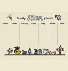 horizontal timetable for elementary school weekly vector image