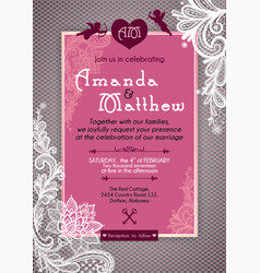 Invitation to the wedding in gray and pink colors vector