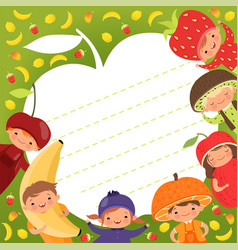 kids menu template colored background with vector image
