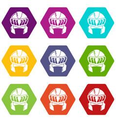 Knight helmet medieval icons set 9 vector