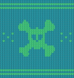 Knitted skull with bones sweater for halloween and vector