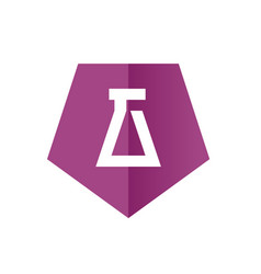 Laboratory symbol merged with purple hexagon vector