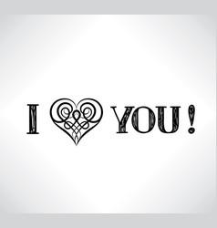 lettering i love you celtic line art heart sign vector image