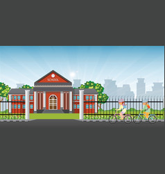 little kids riding a bicycle in front school vector image