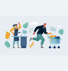 man and woman cashier and customer with vector image