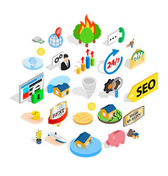 Meeting icons set isometric style vector