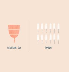 Menstrual cup vs tampons zero waste concept vector