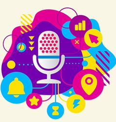 Microphone on abstract colorful spotted background vector