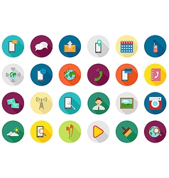 Mobile services round icons set vector image
