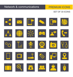 Network and communication set of icons grey and vector