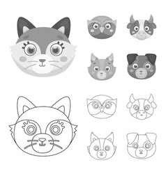 Owl cow wolf dog animal muzzle set collection vector