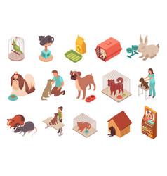 Pet animals isometric icons vector
