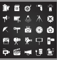 Photography and videography icon set on black vector