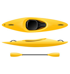 plastic kayak for fishing and tourism yellow vector image