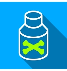 Poison Bottle Flat Long Shadow Square Icon vector