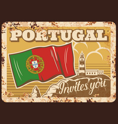 portugal travel portuguese flag metal plate rusty vector image