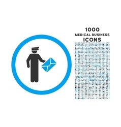 Postman Rounded Icon with 1000 Bonus Icons vector image
