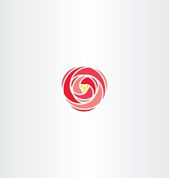Red rose icon stylized logo vector