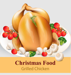 roast chicken with vegetables realistic vector image