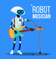 robot musician playing guitar and singing into vector image