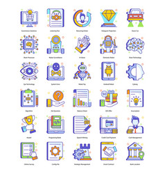 Robotic technology in flat style pack vector