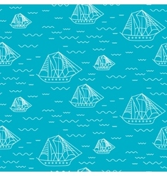 Sailing boat seamless outline pattern in vector image