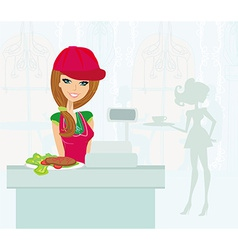 Saleswoman serves lunch vector