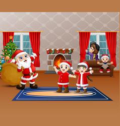 Santa claus holding sack of gift for children vector