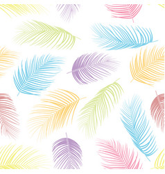 seamless pattern with colorful isolated palm leave vector image