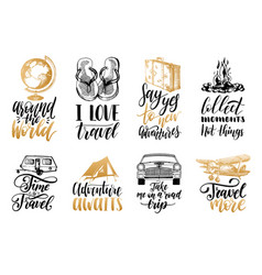 set hand lettering with phrases about vector image